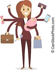Multi tasking woman. - Multi tasking woman with baby, work...