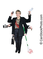 Woman with six arms holding a mop, briefcase, champagne glasses, cellphone, keys and cooking pot. Shot with the Canon 20D.