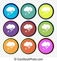 multi, vecteur, coloré, signe., buttons., temps, neuf, rond, icône