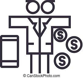 multi, vector, golpes, dinero, editable, tasking, señal, plano de fondo, ilustración, icono, línea, hombre