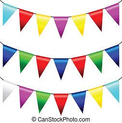 multi, vektor, flaggen, gefärbt, dreieckig