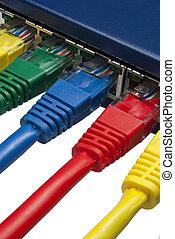 multi, vernetzung, /, farbig, schalter, verbunden, ethernet, router, stecker