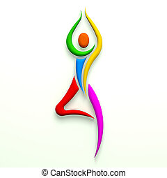 multi, yoga poser, træ, color., person