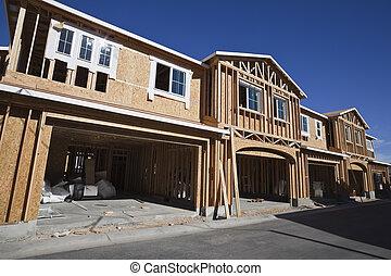 multi, zbudowanie, mieszkaniowy, rodzina, fryz