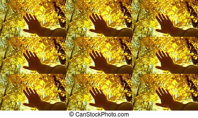 POV of hand of man who moves it in air, through fingers through rays