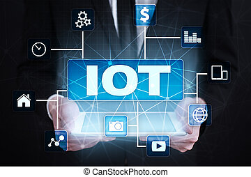 multichannel, ネットワーク, コミュニケーション, concept., インターネット, もの, iot., オンラインで