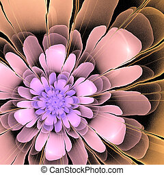 multicolor 3d fractal abstract asymetric flower