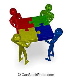 multicolor, 3d, gente, tenencia, armados, rompecabezas