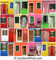 multicolor abstract facade made of images from Burano village, Venezia, Veneto, Italia, Europe