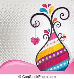 multicolor, abstratos, árvore, com, coração