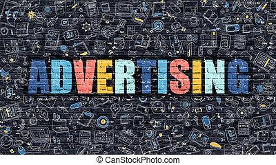 Multicolor Advertising on Dark Brickwall. Doodle Style.