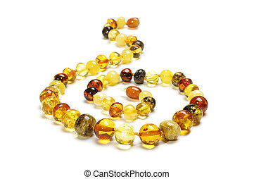 Multicolor amber necklace isolated