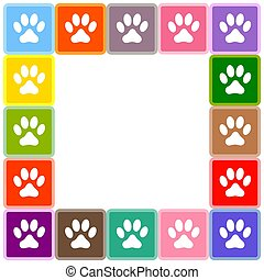 Multicolor animal paw prints border.