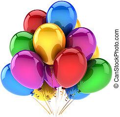 multicolor, aniversário, balões, feliz