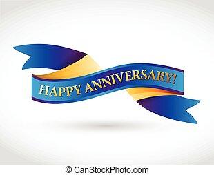 multicolor, anniversario felice, nastro