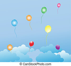 Multicolor balloons flying in the air.