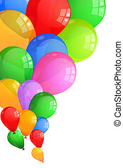 Multicolor balloons background isolated on white