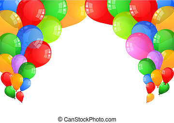 Multicolor Baloons - Multicolor balloons frame isolated on...