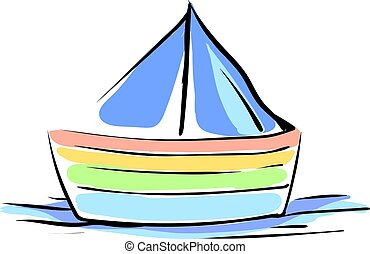 Multicolor boat, illustration, vector on white background.