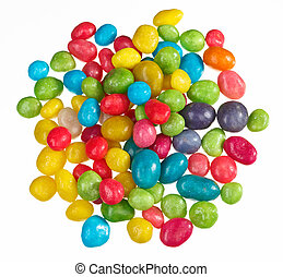 Multicolor bonbon sweets (ball candies) heap, isolated on...