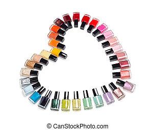 multicolor, botellas, de, esmalte uñas, en, el, forma, de,...