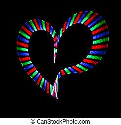 multicolor, brillado, corazón, en, negro, fondo., amor,...