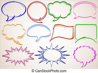 Multicolor bubbles - Multicolor hand-drawn talking bubbles...