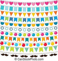 Multicolor bunting vector set