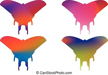 Multicolor butterfly isolated on white background, vector illustration
