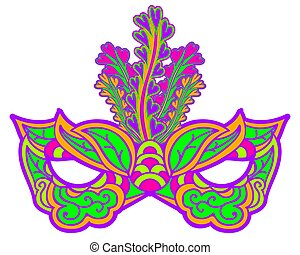 Multicolor carnival mask with feathers isolated on white. Element for Mardi Gras.
