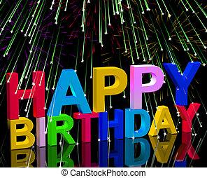 multicolor, cartas, más, fuegos artificiales, para, celebrar, un, feliz cumpleaños
