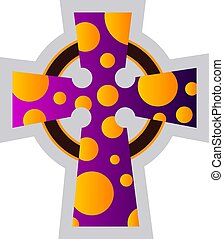 Multicolor Celtir Cross vector religion ilustration on a white background