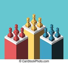 Multicolor chess pawns, segmentation - Isometric multicolor...