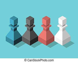 Isometric various multicolor chess pawns team standing together on turquoise. Teamwork, diversity, unity and cooperation concept. Flat design. EPS 8 vector illustration, no transparency, no gradients