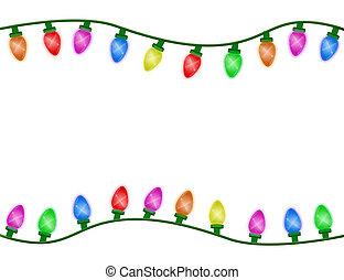 Christmas Time - Multicolor Christmas lights border isolated...