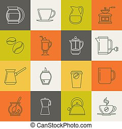 Multicolor coffee thin line vector icons set. Collection of...
