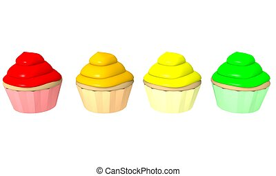 Multicolor cupcakes 1 - 3d computer generated