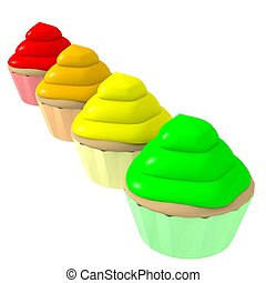 Multicolor cupcakes 2 - 3d computer generated