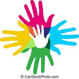 multicolor, diversidade, mãos