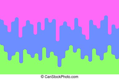 Multicolor dripping paint. Drips of paint on a green background. Bright backdrop. Vector illustration