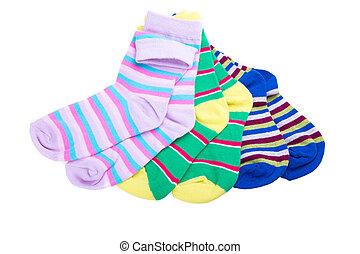 multicolor, dziecięcy, pasiaste skarpetki
