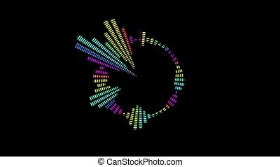 Multicolor equalizer for the level of music control in the form of a circle. Black background