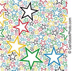 multicolor, estrellas, seamless, patrón