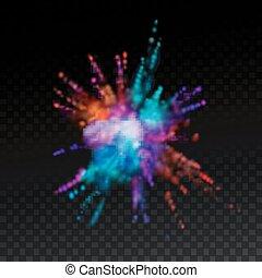 multicolor, explosivo, nube, de, polvo, tinte
