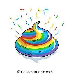 multicolor, fantástico, shit., animal, rainbow., turd, hedor, poop., colores, criatura mítica, coloreado, moscas, feces., unicornio