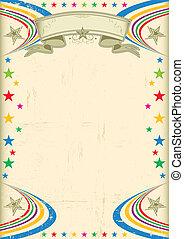 Multicolor fiesta poster. - A vintage champagne color poster...