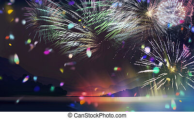 multicolor fireworks at lakeside illustration