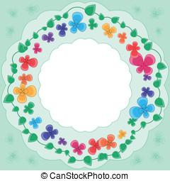 multicolor, flores, armazón