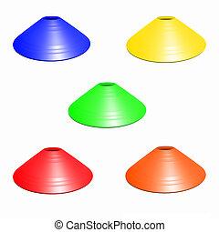 Multicolor football soccer cone isolated