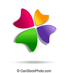 Multicolor four-leaf clover logo de - Abstract sign on White...